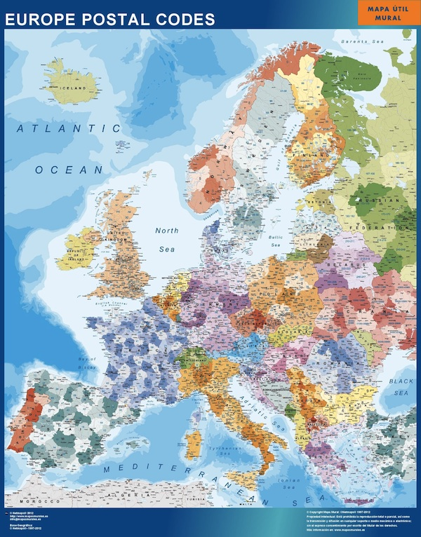 Wall maps of the world countries and continents europe postal codes map gumiabroncs