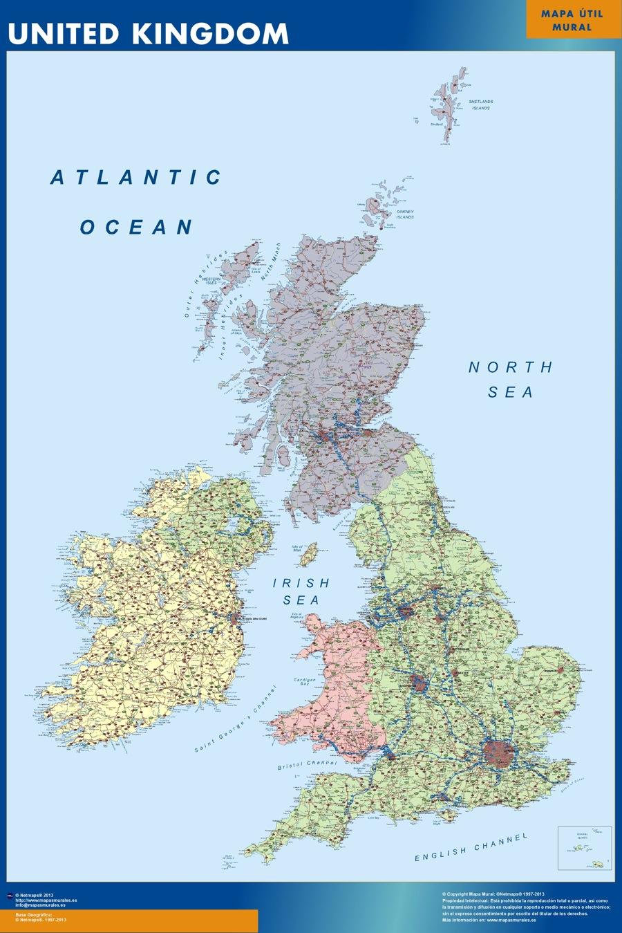 United kingdom wall map
