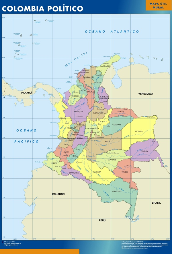 colombia wall maps Colombia wall maps