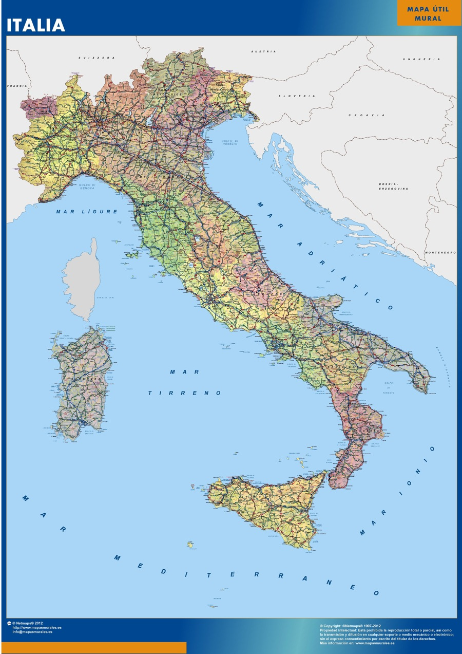 Our Italy Wall Maps Wall Maps Mapmakers Offers Poster Laminated - Maps of italy