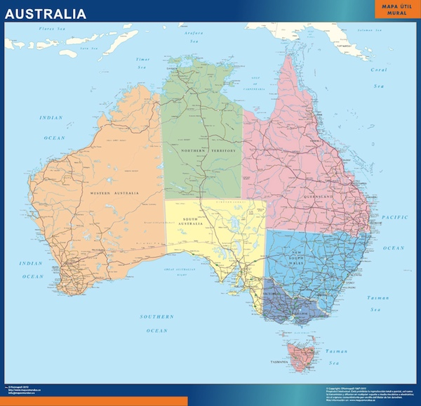Our australia wall maps wall maps mapmakers offers poster our wall map australia sciox Images