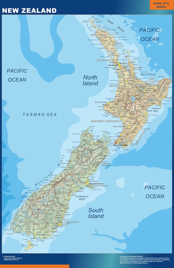 nueva zelanda mapa mural
