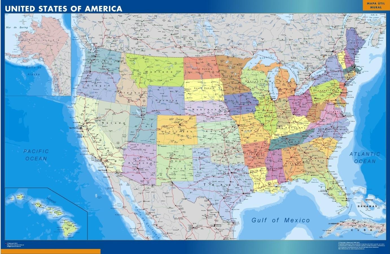 usa wall map