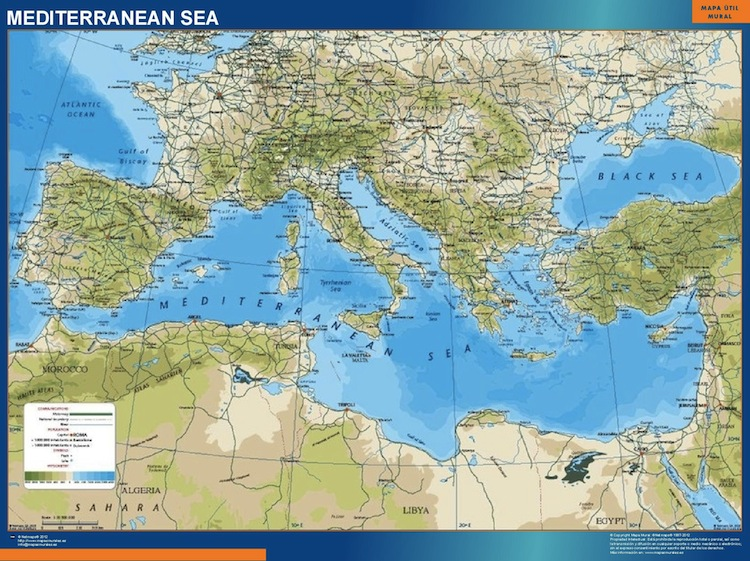 Find and enjoy our Mediterranean Wall Map | TheWallmaps.com