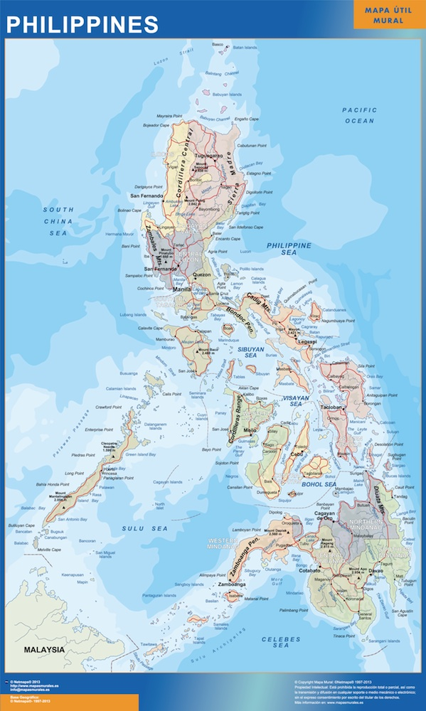 Our philippines wall maps wall maps mapmakers offers poster philippines map 150 x 92 cm gumiabroncs Gallery