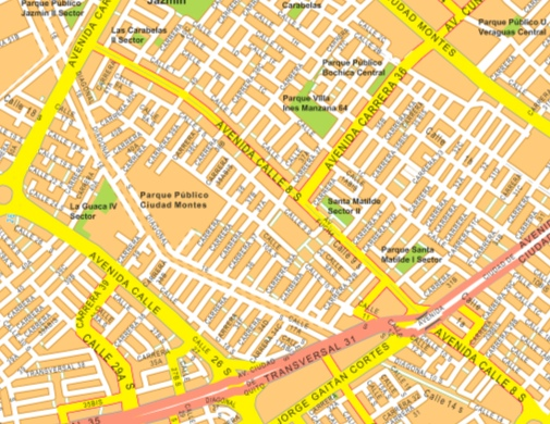 bogota wall map