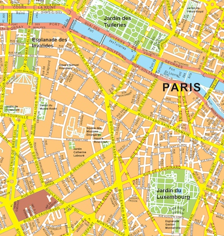 carte murale paris