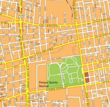 santiago de chile wall map