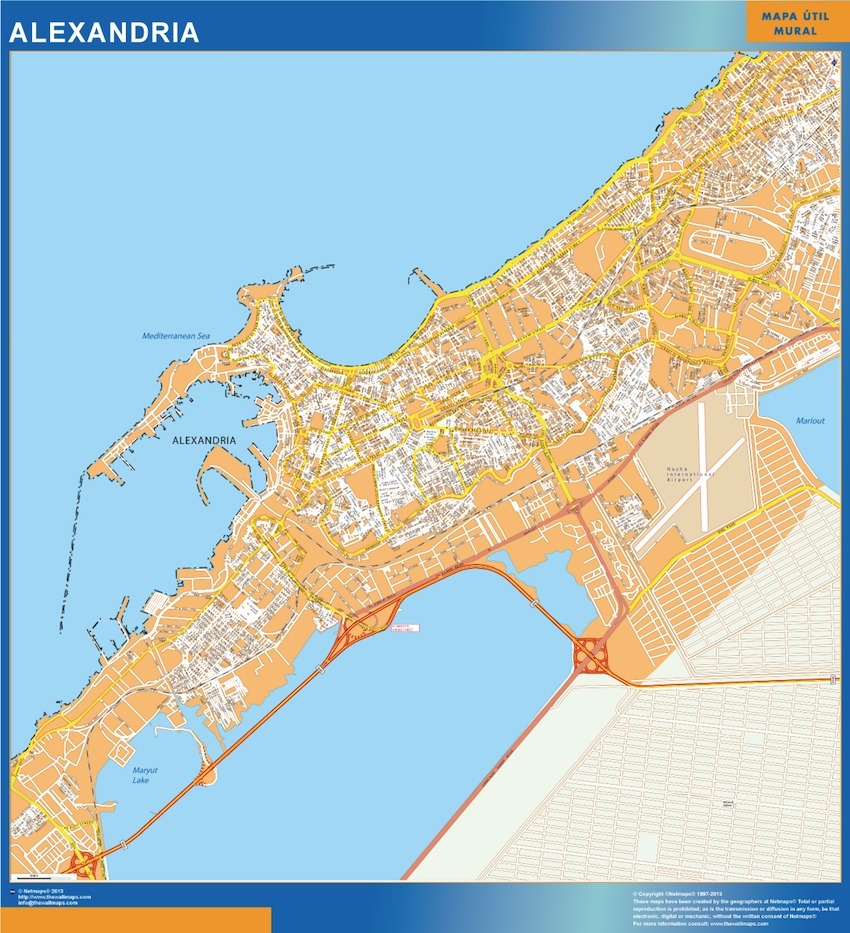 Our alexandria egypt wall map wall maps mapmakers offers poster alexandria egypt wall map 92 x 85 cm gumiabroncs Images