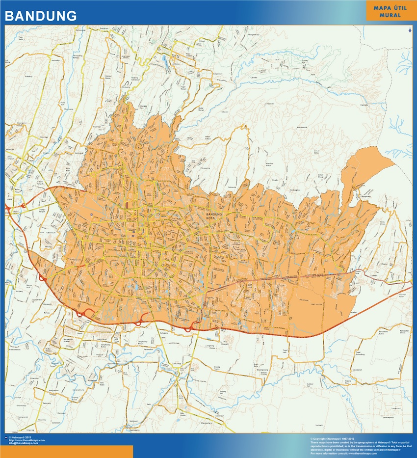 Our bandung indonesia wall map wall maps mapmakers offers bandung indonesia wall map 92 x 85 cm sciox Gallery