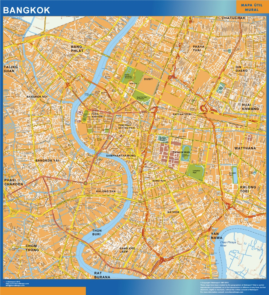 Our bangkok wall map wall maps mapmakers offers poster laminated bangkok wall map 92 x 85 cm gumiabroncs
