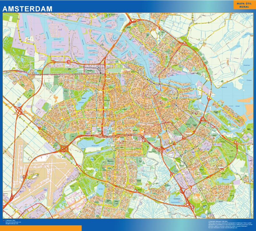 Amsterdam wall map