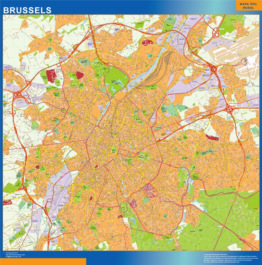 Brussels wall map