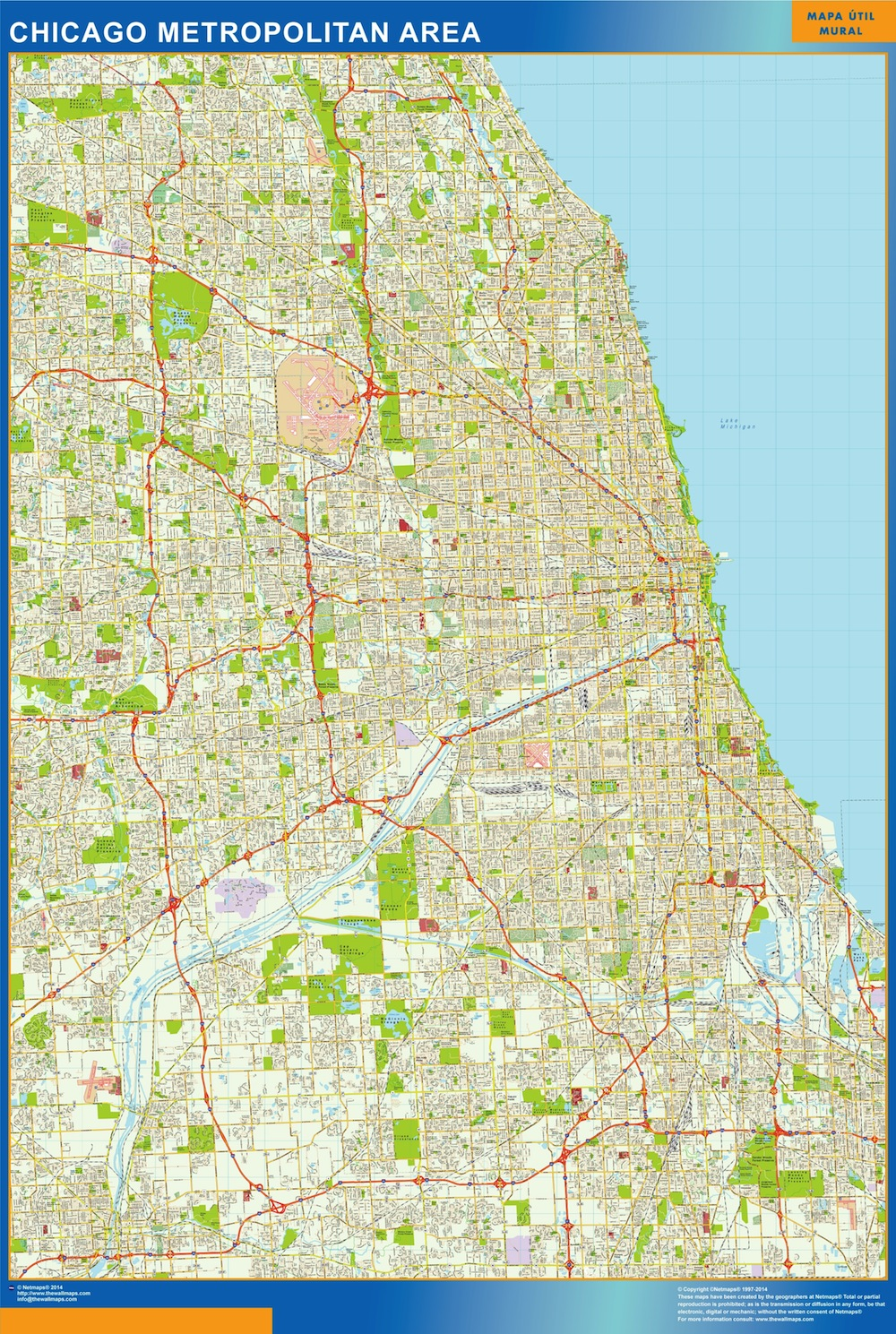 Find and enjoy our Chicago Area Wall Map | TheWallmaps.com