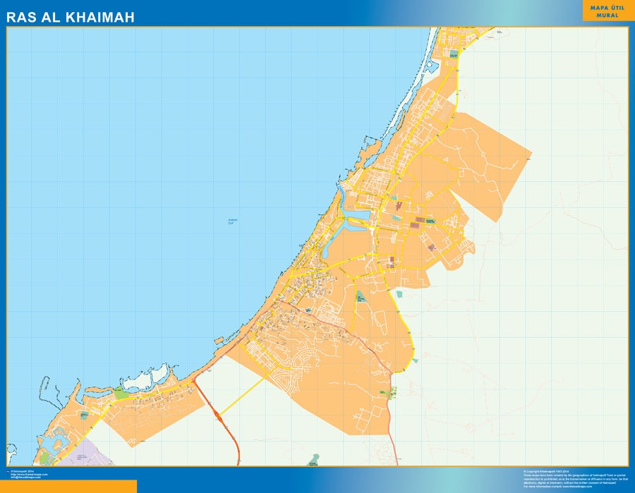 Ras al Khaimah wall map