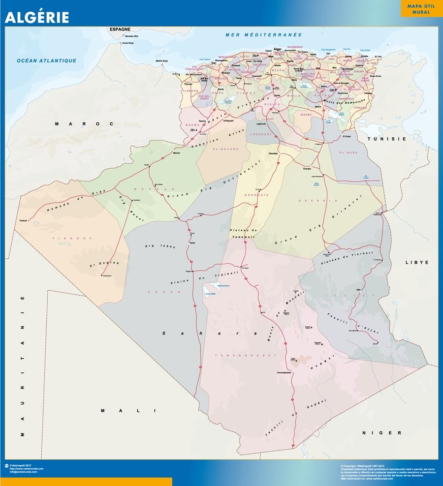 algeria wall map