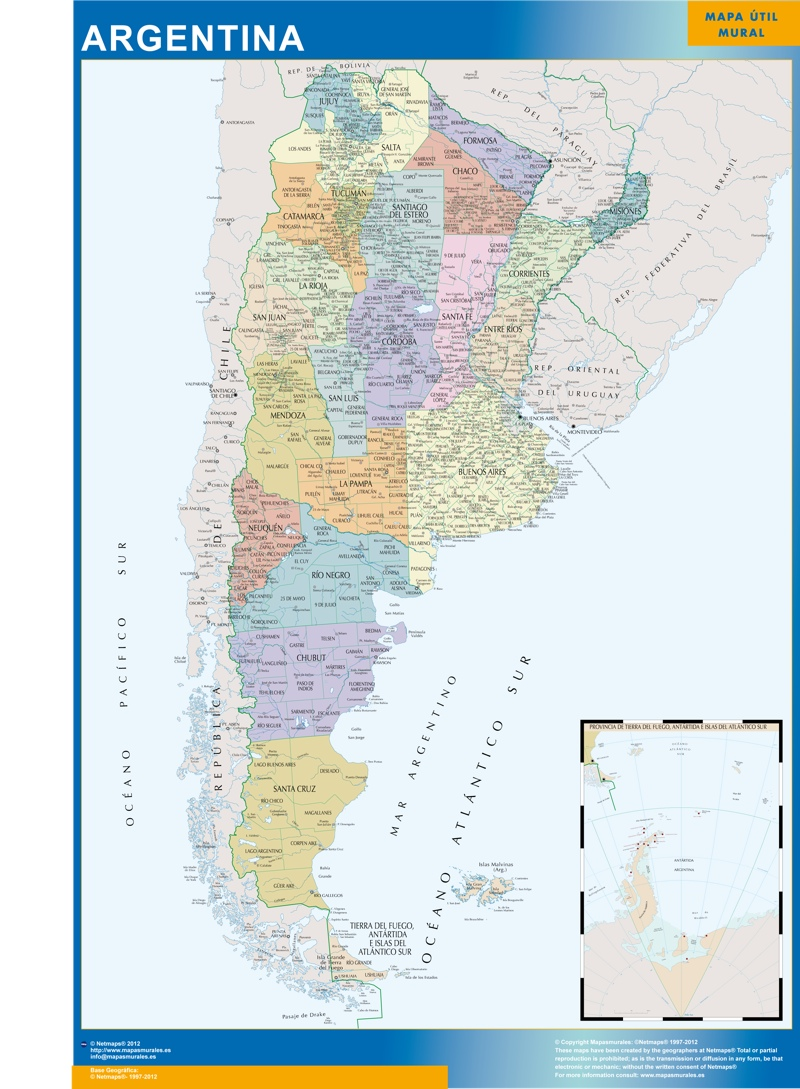 argentina wall map