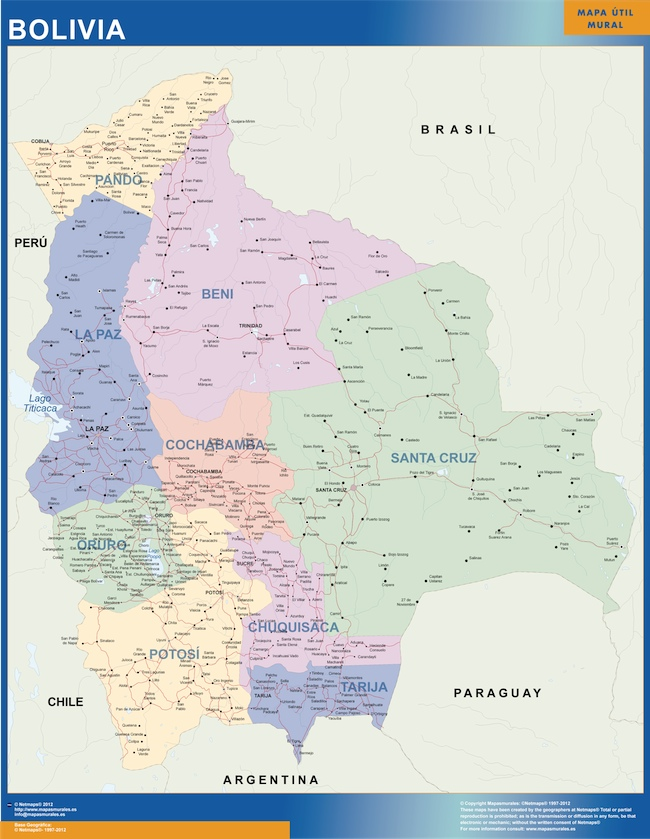 bolivia wall map