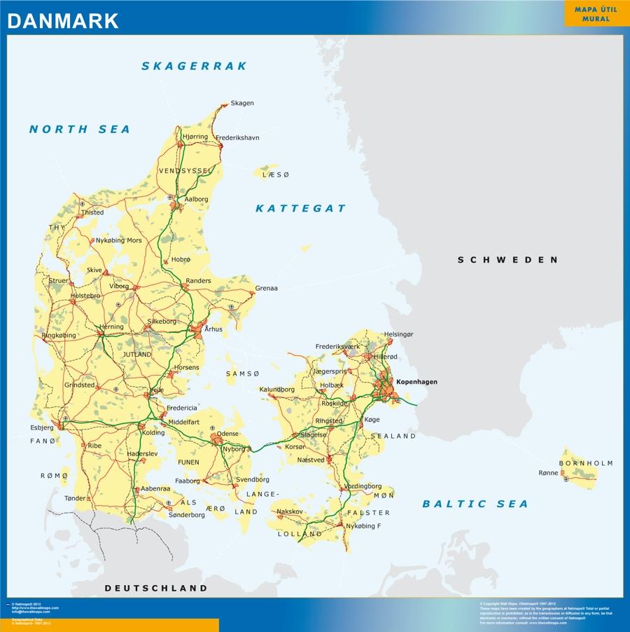 denmark wall map