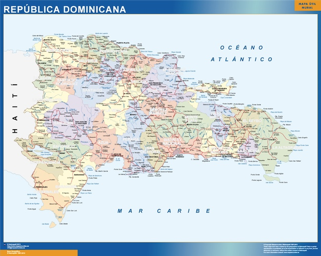 dominican republic wall map