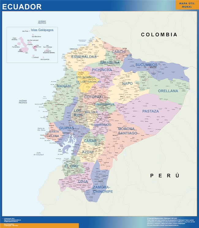 ecuador wall map