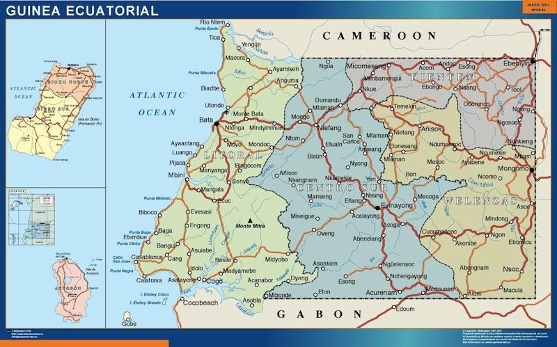 equatorial guinea wall map
