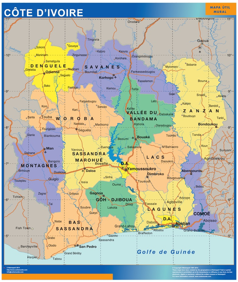 ivory coast wall map