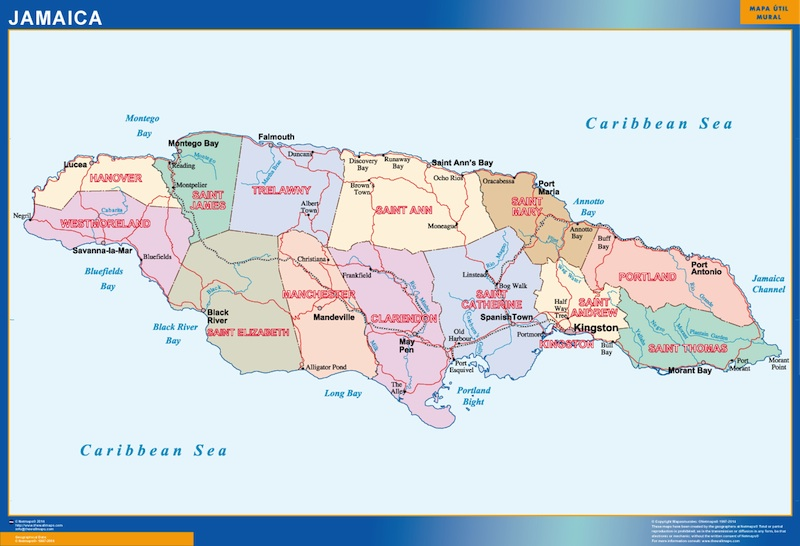 jamaica wall map