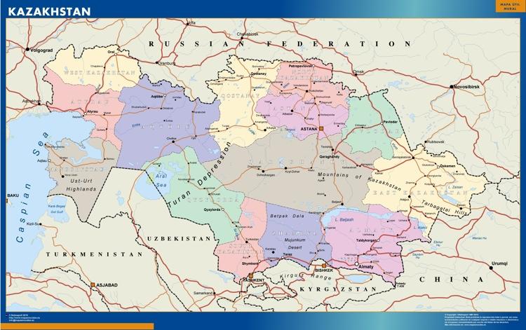 kazakhstan wall map