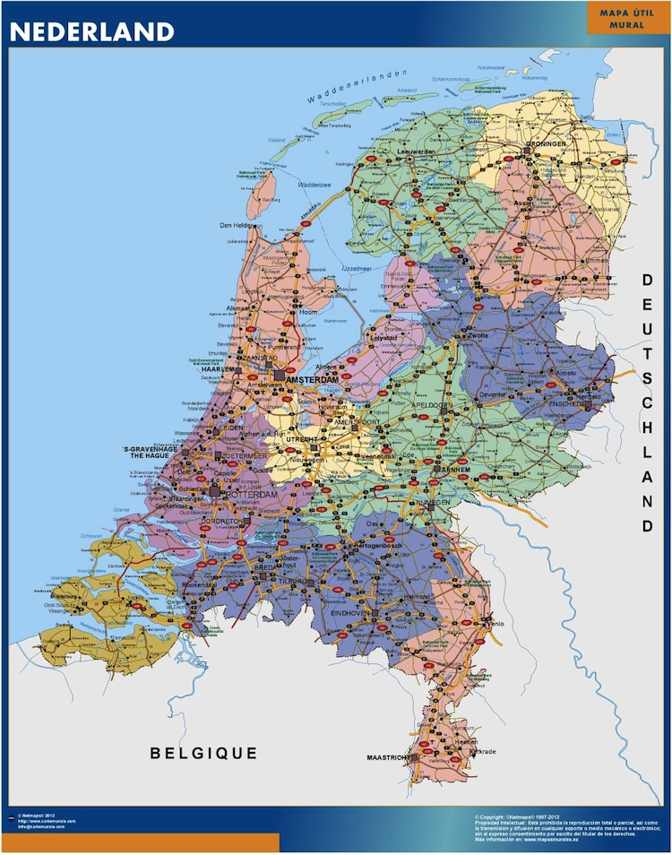 netherlands wall map