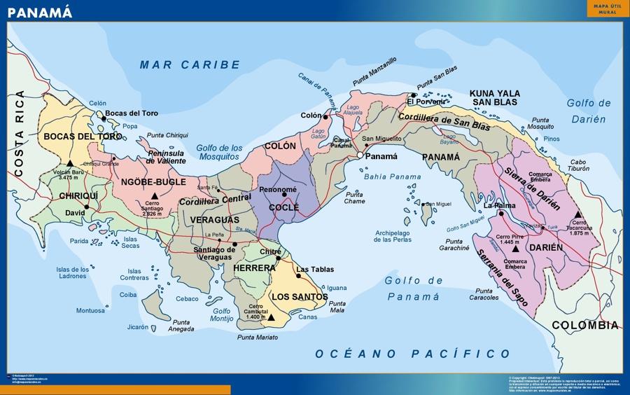 panama wall map