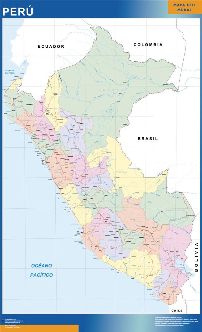 peru wall map