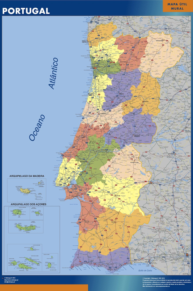 portugal wall map