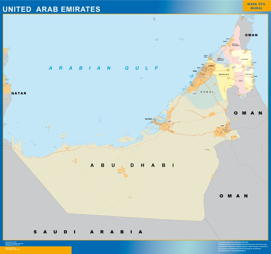 united arab emirates wall map