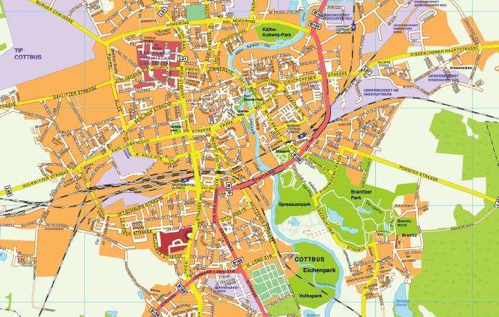 Cottbus stadtplan