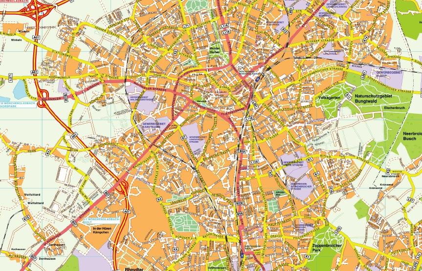 Monchengladbach stadtplan