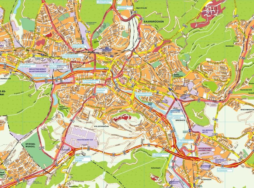 Saarbrucken stadtplan