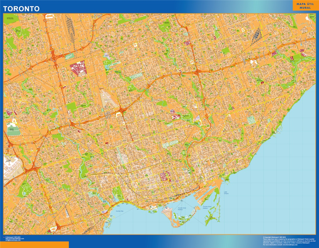 Our toronto map wall maps mapmakers offers poster laminated or toronto map 120 x 92 cm gumiabroncs Choice Image