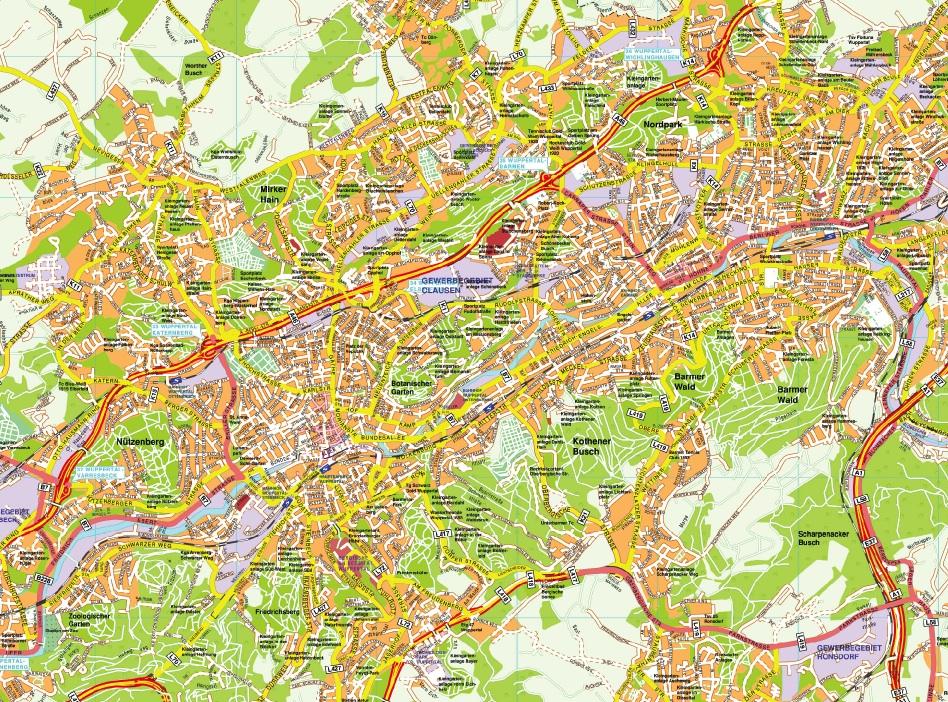Wuppertal stadtplan