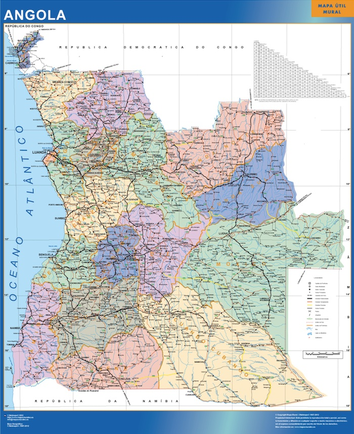 angola wall maps