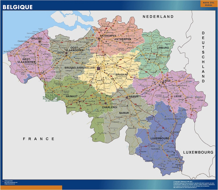 belgique wall maps