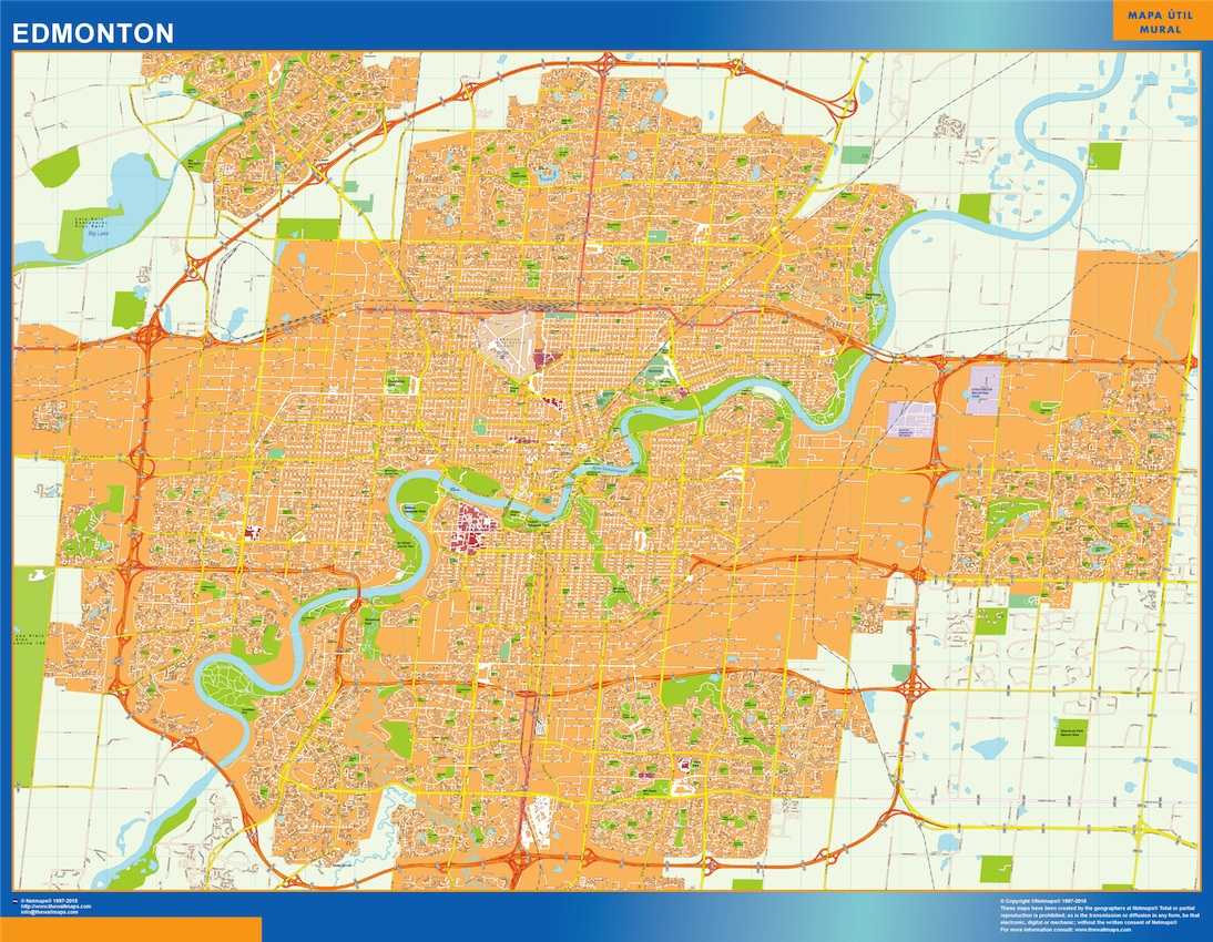 World wall maps store edmonton map more than 10 000 maps online map of edmonton canada large and complete street map fully updated choose any of our options from our standard poster wall map to our top sales gumiabroncs Images