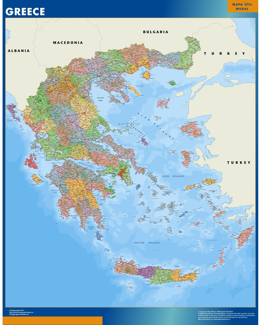World Wall Maps Store greece map More than 10 000 maps online Our greece