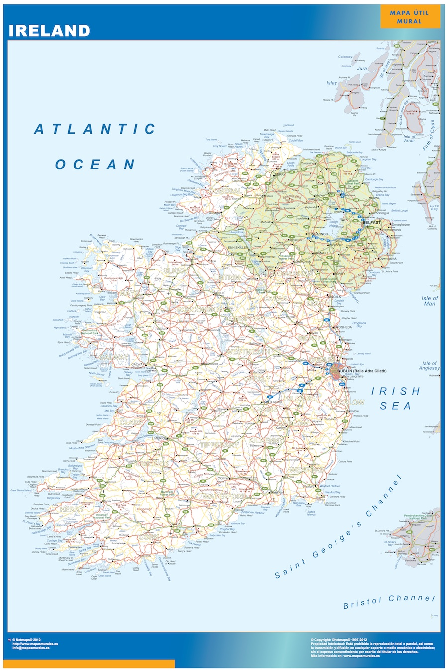 ireland wall maps