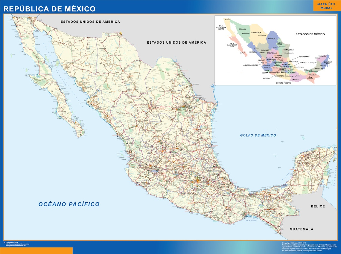 Golfo De Mexico Map.Mexico Map Wall Maps Of The World