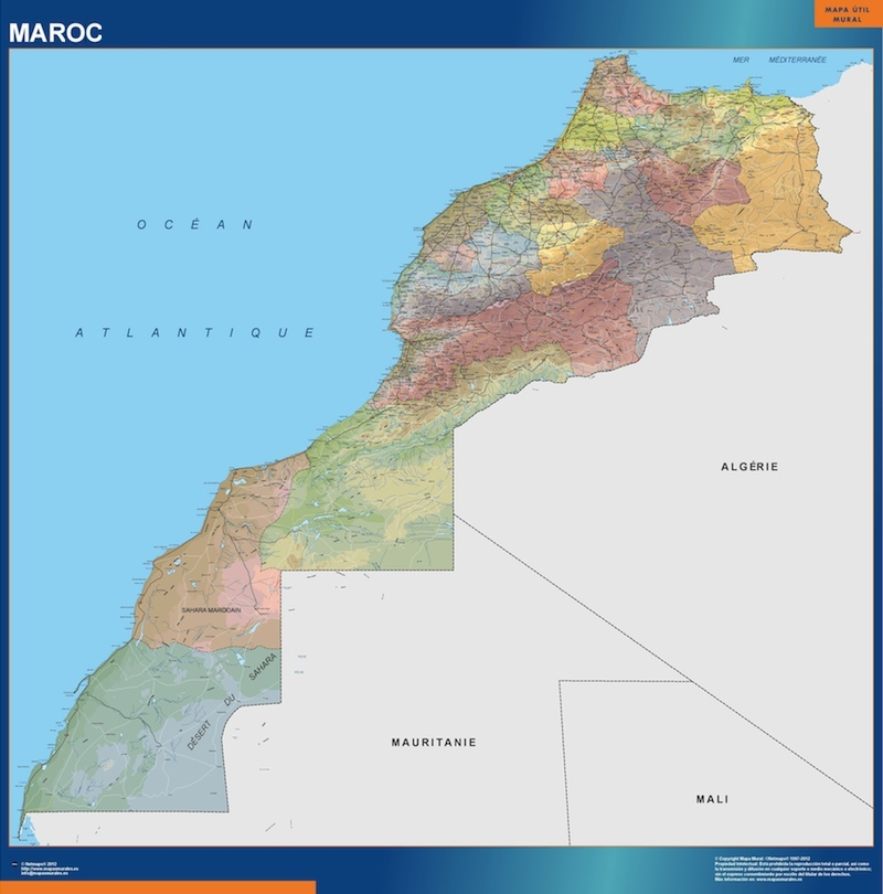morocco wall maps