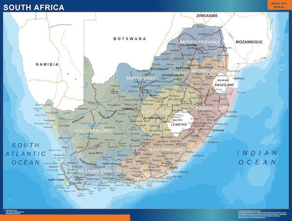 south africa wall maps