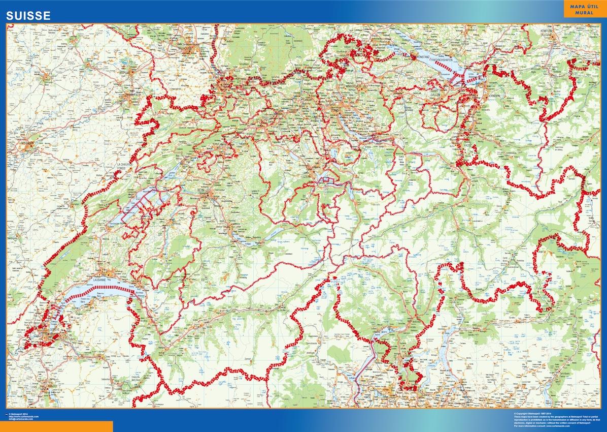 switzerland wall maps