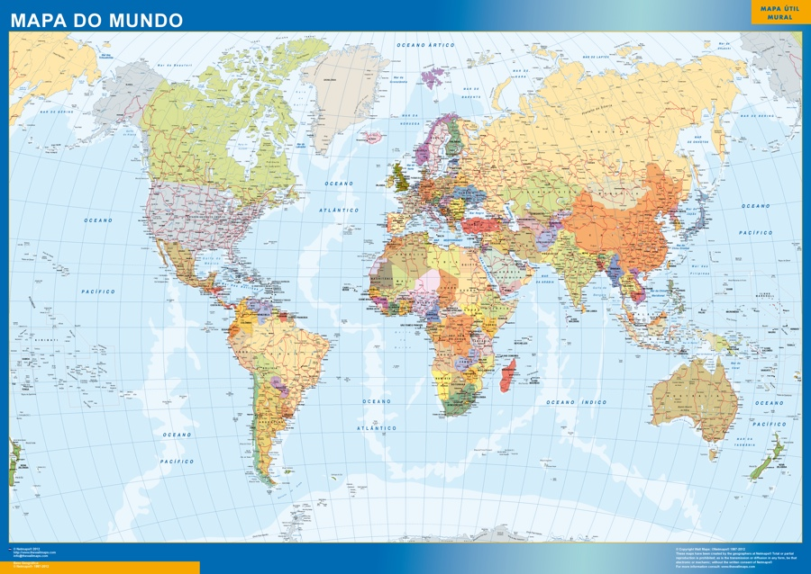 Look our special world poster portuguese | World Wall Maps Store