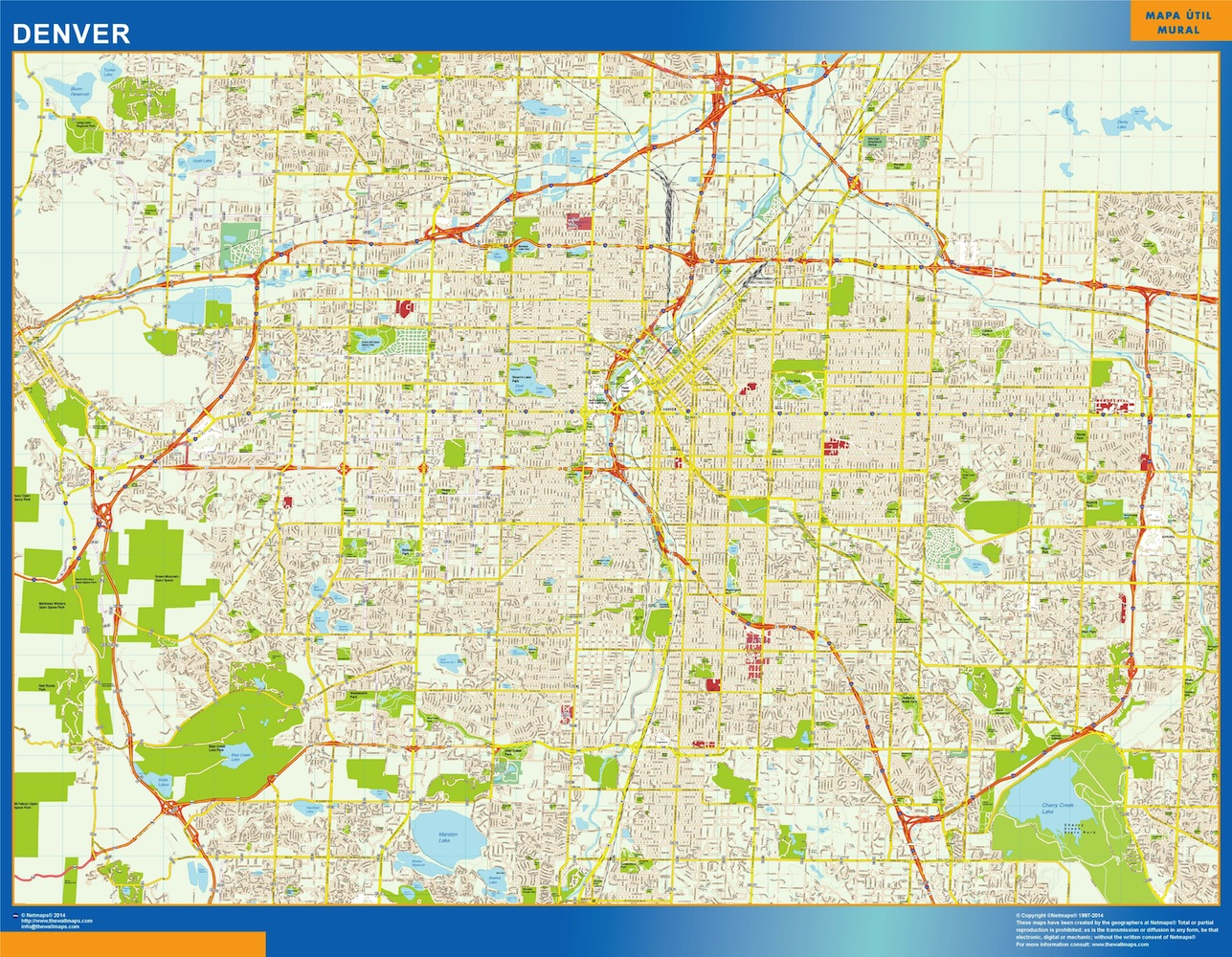 World Wall Maps Store: denver street map . More than 10 000 maps ...